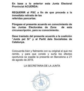 Resolució de la Junta ELectoral instant la retirada de pancartes del PSC